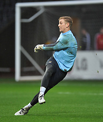 Manchester City's Joe Hart kick the ball in warm up. - Photo mandatory by-line: Alex James/JMP - Tel: Mobile: 07966 386802 01/01/2014 - SPORT - FOOTBALL - Liberty Stadium - Swansea - Swansea City v Manchester City - Barclays Premier League