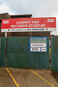 Kingsmeadow/ Cherry Red Records Stadium sign showing AFC Wimbledon v Portsmouth during the Leasing.com EFL Trophy match between AFC Wimbledon and Leyton Orient at the Cherry Red Records Stadium, Kingston, England on 8 October 2019.