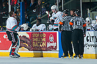 KELOWNA, CANADA - DECEMBER 30: Jackson Whistle #1 of Kelowna Rockets skates to the bench for helmet repair against the Everett Silvertips on December 30, 2015 at Prospera Place in Kelowna, British Columbia, Canada.  (Photo by Marissa Baecker/Shoot the Breeze)  *** Local Caption *** Jackson Whistle;