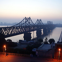 DANDONG , OCTOBER-26: the bridge that connects the Chinese border town of Dandong and North Korea,October 26,2006.