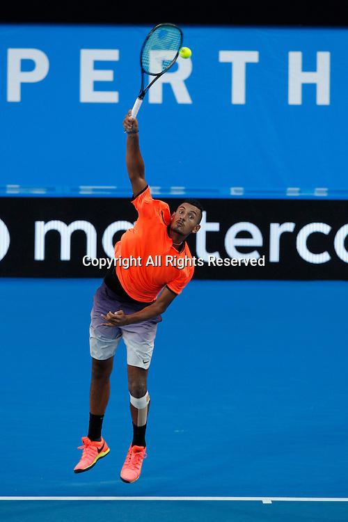 03.01.2017. Perth Arena, Perth, Australia. Mastercard Hopman Cup International Tennis tournament. Nick Kyrgios (AUS) serves during his game against Adam Pavlasek (CZE). Kyrgios won 7-5, 6-4.