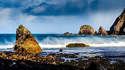Sea stacks on the beach near Aird Uig, Isle of Lewis, Outer Hebrides, Scotland<br /> <br /> (c) Andrew Wilson   Edinburgh Elite media