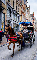 Tourists in a horse and trap in Steenstraat, Bruges, Belgium<br /> <br /> (c) Andrew Wilson | Edinburgh Elite media