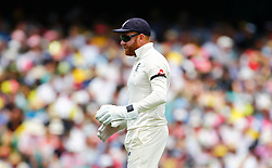 England's Jonny Bairstow wears a black armband in memory of his father as it is the 20th annivesary of his death during day two of the Ashes Test match at Sydney Cricket Ground.