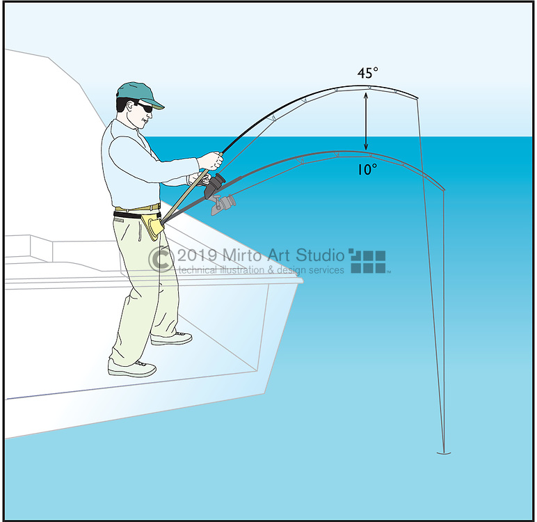 A vector illustration showing the short pump technique when using a fishing rod.