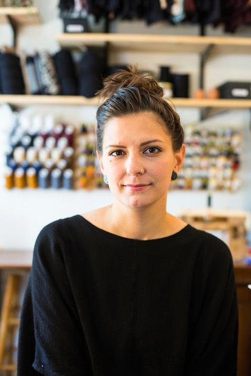 Portrait of lingerie maker Alyssa Woods, Nehalem, Oregon.