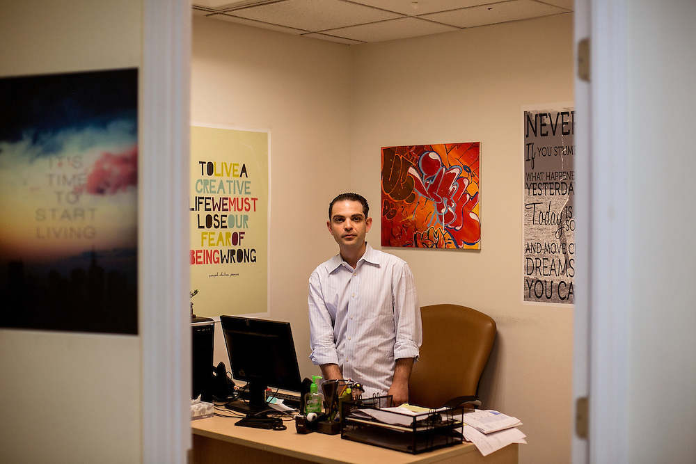 BROOKLYN, NY - JUNE 30, 2016: Max Schwartzberg, a counselor at The Resource Training Center, poses for a portrait at the organization's office in Bay Ridge, Brooklyn, New York. CREDIT: Sam Hodgson for The New York Times.