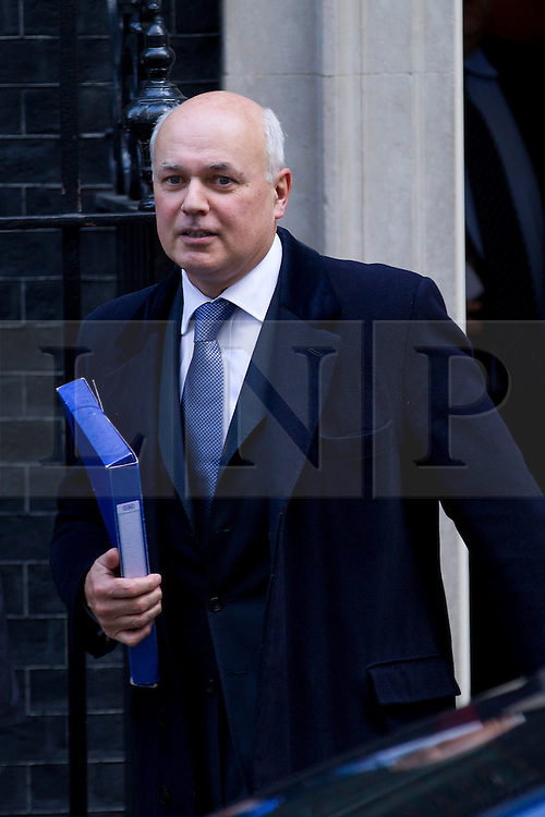 © Licensed to London News Pictures. 16/10/2012. LONDON, UK. Iain Duncan Smith, the Work and Pensions Secretary is seen leaving number 10 Downing Street after today's meeting of David Cameron's cabinet in London today (16/10/12). Photo credit: Matt Cetti-Roberts/LNP