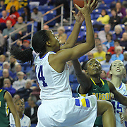 Delaware Forward Alecia Bell (14) drives to the basket in the second half of a regular season NCAA basketball game against George Mason Thursday, Jan 10, 2013 at the Bob Carpenter Center in Newark Delaware...Delaware (10-3; 1-0) defeated George Mason (5-8; 0-2) 62-27..Delaware is riding a four-game winning streak after defeating George Mason, St. John's in over-time on Jan. 2, Villanova (Dec. 29) and Duquesne (Dec. 30) to capture the 2012 Dartmouth Blue Sky Classic title.