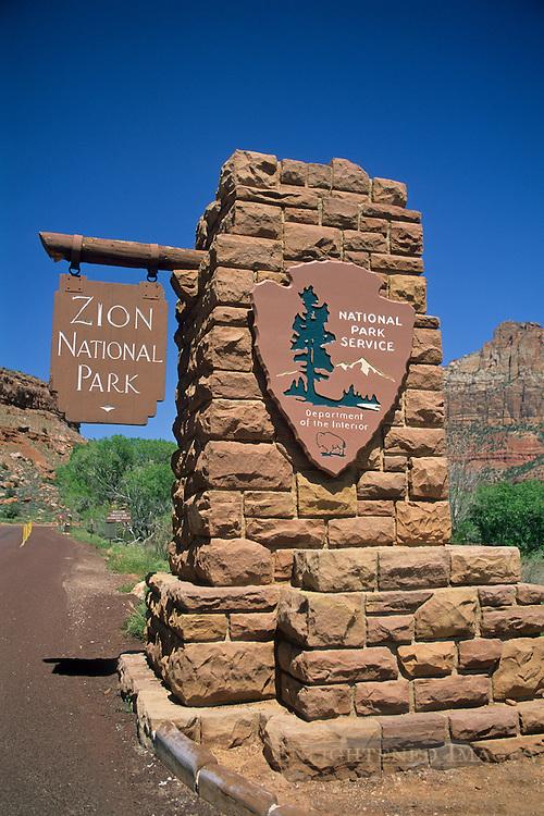 Entrance sign at Zion National Park, near Springdale, UTAH