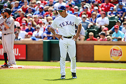 March 29, 2018 - Arlington, TX, U.S. - ARLINGTON, TX - MARCH 29: Texas Rangers manager Jeff Banister (28) walks out to the mound during the game between the Texas Rangers and the Houston Astros on March 29, 2018 at Globe Life Park in Arlington, Texas. Houston defeats Texas 4-1. (Photo by Matthew Pearce/Icon Sportswire) (Credit Image: © Matthew Pearce/Icon SMI via ZUMA Press)