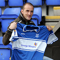 St Johnstone's Paul Sheerin with his home strip which is sponsored by Taggart actor and Saints fan Colin McCreadie.<br /><br />Picture by Graeme Hart.<br />Copyright Perthshire Picture Agency<br />Tel: 01738 623350  Mobile: 07990 594431