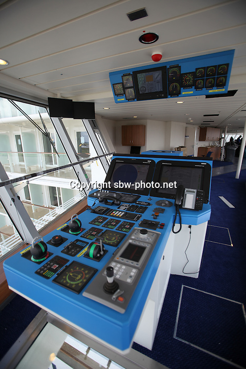 Celebrity Equinox, a brand new cruise ship belonging to Celebrity Cruises, during her river conveyance down the River Emms from the shipyard where she was built to the open sea..Onboard feature photos. (ship unfinished).The Bridge