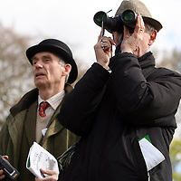 Judges James Hassett and Ian Scott watching the action at the first County Clare Hunt point to point in Cahergal, Newmarket-on-Fergus on Easter Sunday.<br /> Photograph by Yvonne Vaughan