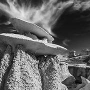 Double Hoodoo - Bisti Badlands - New Mexico - Black & White