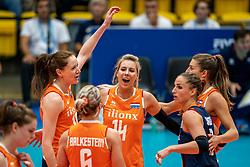 03-08-2019 ITA: FIVB Tokyo Volleyball Qualification 2019 / Netherlands, - Kenya Catania<br /> 3rd match pool F in hall Pala Catania between Netherlands - Kenya. Netherlands win 3-0 / Lonneke Sloetjes #10 of Netherlands, Laura Dijkema #14 of Netherlands, Anne Buijs #11 of Netherlands, Myrthe Schoot #9 of Netherlands