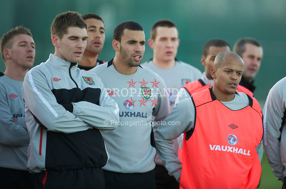 DUBLIN, IRELAND - Monday, February 7, 2011: Wales' Sam Vokes, Hal Robson-Kanu, Robert Earnshaw during training at Gannon Park ahead of the opening Carling Nations Cup match against the Republic of Ireland. (Photo by David Rawcliffe/Propaganda)