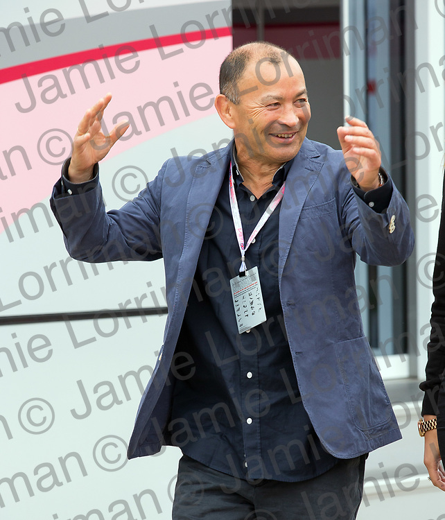 The 2017 Formula 1 Rolex British Grand Prix at Silverstone Circuit, Northamptonshire.<br /> <br /> Pictured: England national rugby union head coach Eddie Jones exits the Force India motorhome at Silverstone Circuit on qualifying day.<br /> <br /> Jamie Lorriman<br /> mail@jamielorriman.co.uk<br /> www.jamielorriman.co.uk<br /> +44 7718 900288