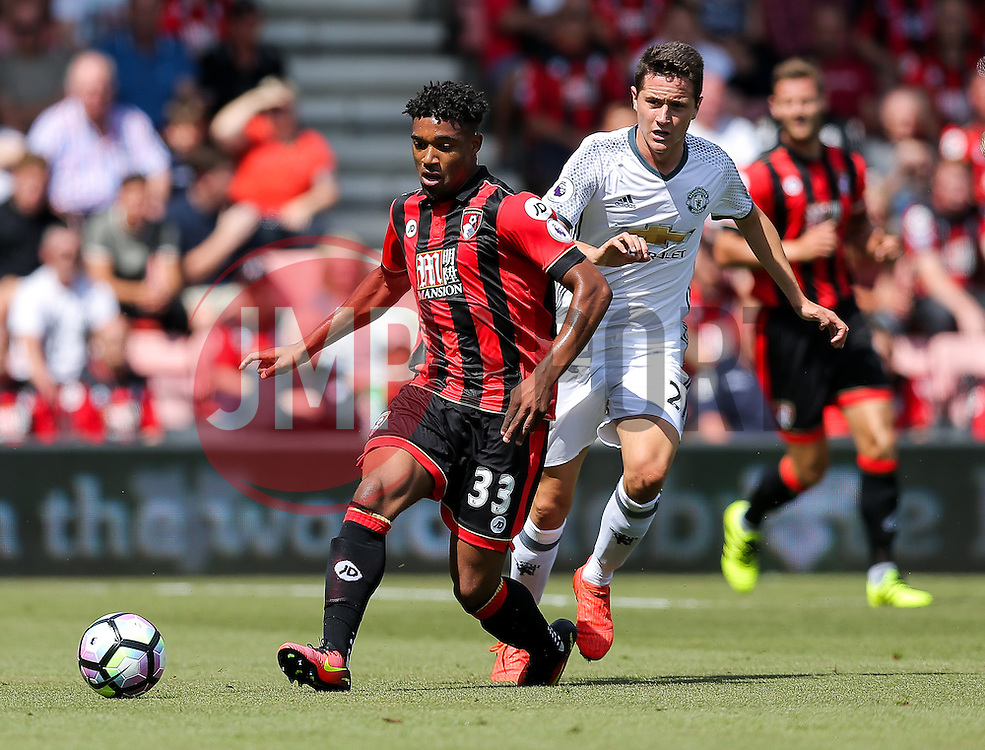 Jordon Ibe of Bournemouth is challenged by Ander Herrera of Manchester United - Rogan Thomson/JMP - 14/08/2016 - FOOTBALL - Vitality Stadium - Bournemouth, England - Bournemouth v Manchester United - Premier League Opening Weekend.