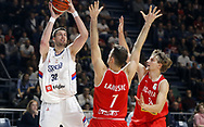 BELGRADE, Nov. 25, 2017  Serbia's Djordje Gagic (L) tries to shoot against Austria's Davor Lamesic (C) and Moritz Lanegger during the FIBA Basketball World Cup qualifying match between Serbia and Austria in Belgrade, Serbia on Nov. 24. 2017. Serbia won 85-64. (Credit Image: © Predrag Milosavljevic/Xinhua via ZUMA Wire)