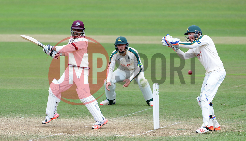 Somerset's Abdur Rehman cuts the ball. - Photo mandatory by-line: Harry Trump/JMP - Mobile: 07966 386802 - 17/06/15 - SPORT - CRICKET - LVCC County Championship - Division One - Day Four - Somerset v Nottinghamshire - The County Ground, Taunton, England.