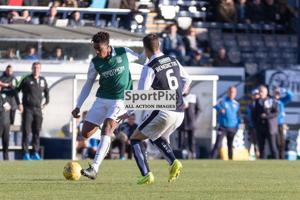 Hibernian's Dom Malonga is tracked by Raith Rovers's Kyle Benedictus in the Raith Rovers vs Hibernian Scottish Championship 24th October 2015......(c) MARK INGRAM | SportPix.org.uk