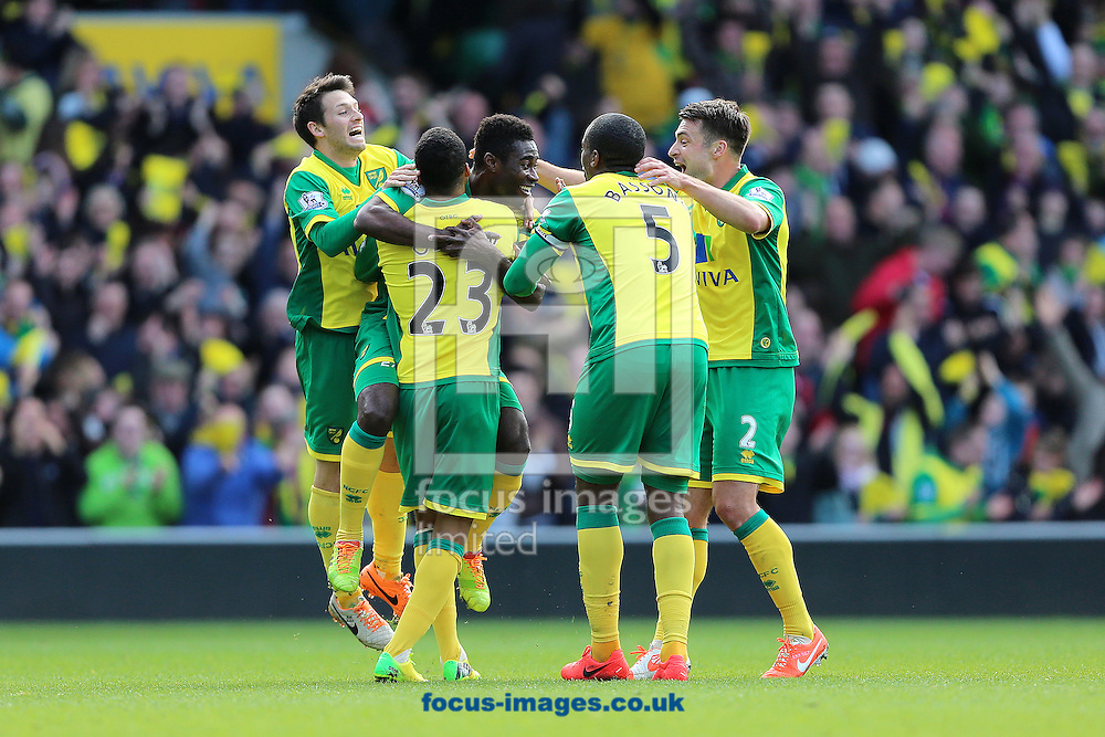 Alexander Tettey (centre) of Norwich City is congratulated by team mates after scoring the second goal of the Barclays Premier League match against Sunderland at Carrow Road, Norwich<br /> Picture by Richard Calver/Focus Images Ltd +447792 981244<br /> 22/03/2014