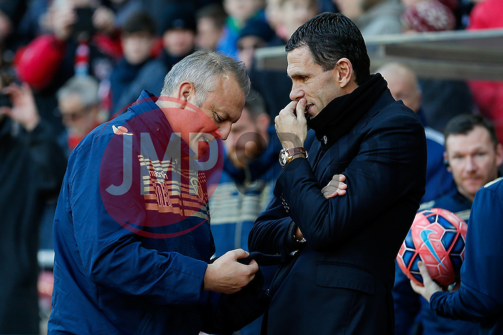 Leeds United Manager Neil Redfearn is greeted by Sunderland Manager Gustavo Poyet - Photo mandatory by-line: Rogan Thomson/JMP - 07966 386802 - 04/01/2015 - SPORT - FOOTBALL - Sunderland, England - Stadium of Light - Sunderland v Leeds United - FA Cup Third Round Proper.