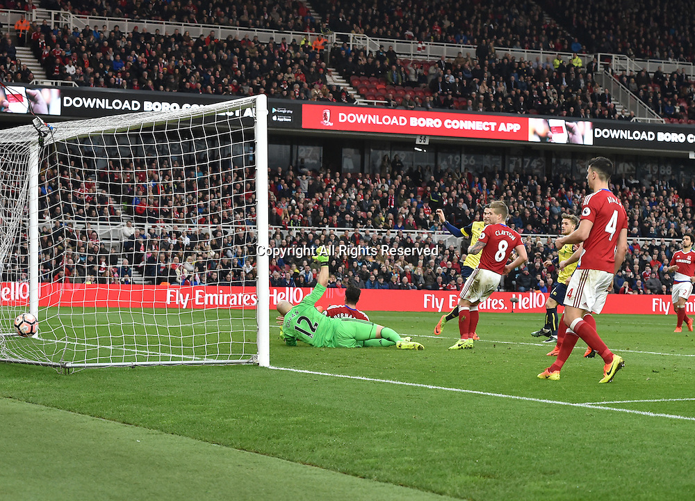 February 18th 2017,  Middlesbrough, Teesside, England; 5th Round FA Cup football, Middlesbrough versus Oxford United;  Antonio Martinez of Oxford United scores to bring the score level 2-2