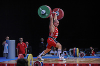 Kevin BOULY (FRA) in the clean and jerk, The London Prepares Weightlifting Olympic Test Event, ExCel Arena, London, England Dece