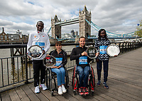 Eliud Kipchoge KEN, Manuela Schar SUI, Marcel Hug SUI and Mary Keitany KEN winners of the Abbott World Marathon Majors Series XI at a photocall and press conference at the Guoman Tower Hotel for the winners of the Virgin Money London Marathon, 23 April 2018.<br /> <br /> Photo: Thomas Lovelock for Virgin Money London Marathon<br /> <br /> For further information: media@londonmarathonevents.co.uk