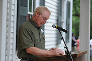 Andy Mullins reads The Reivers, written by Nobel Prize winning author William Faulkner, at the late writer's home of Rowan Oak in Oxford, Miss. on Friday, July 6, 2012. Faulkner died 50 years ago on July 6, 1962. Over 100 people are reading from the book to commemorate the occasion.