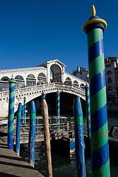 Gondola poles in front of the Ponte di Rialto, Venice, Italy / Italia December 4, 2007.