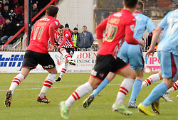 Exeter City's Alex Nicholls scores to make it 1-1 - Photo mandatory by-line: Dougie Allward/JMP - Mobile: 07966 386802 - 31/01/2015 - SPORT - Football - Exeter - St James Park - Exeter City v Tranmere Rovers - Sky Bet League Two