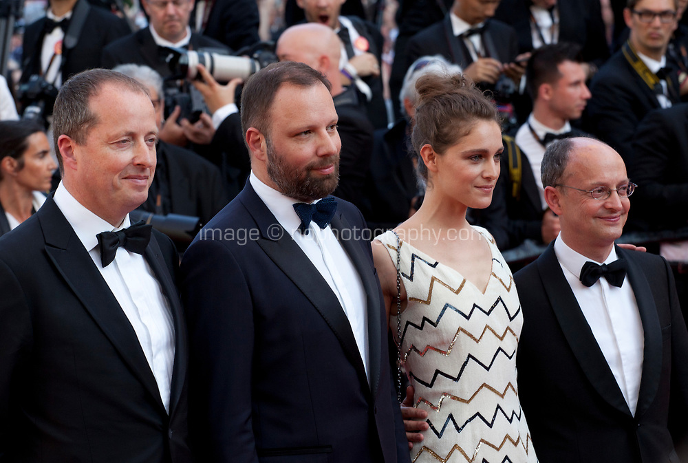 Andrew Lowe Director Yorgos Lanthimos, Ariane Labed and Ed Guiney arriving to the Closing Ceremony and awards at the 70th Cannes Film Festival Sunday 28th May 2017, Cannes, France. Photo credit: Doreen Kennedy