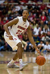 February 13, 2010; Stanford, CA, USA; Stanford Cardinal guard Jarrett Mann (22) during the first half against the Washington Huskies at Maples Pavilion. Washington defeated Stanford 78-61.
