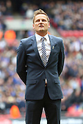 AFC Wimbledon Manager Neal Ardley before the Sky Bet League 2 play off final match between AFC Wimbledon and Plymouth Argyle at Wembley Stadium, London, England on 30 May 2016. Photo by Stuart Butcher.