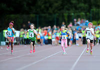 20 Aug 2016: l-r; Alexandra Peters, Cavan, Mai McKenna, Emma Kennedy, Tipperary, Keeva Flynn, Sligo, and Leah O'Halloran, Galway, in the Girls U10 100m heats.   2016 Community Games National Festival.  Athlone Institute of Technology, Athlone, Co. Westmeath. Picture: Caroline Quinn