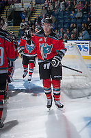 KELOWNA, CANADA - OCTOBER 5:  Jesse Lees #2  of the Kelowna Rockets takes part in a pre-game ritual against the Portland Winterhawks  at the Kelowna Rockets on October 5, 2013 at Prospera Place in Kelowna, British Columbia, Canada (Photo by Marissa Baecker/Shoot the Breeze) *** Local Caption ***