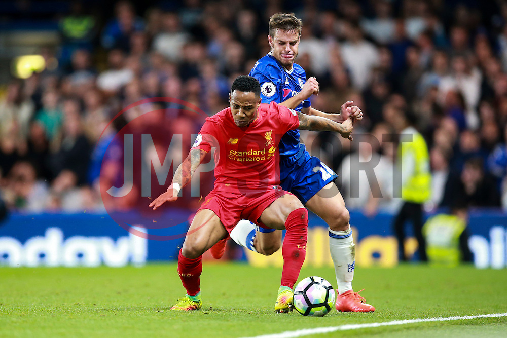 Nathaniel Clyne of Liverpool holds off Cesar Azpilicueta of Chelsea - Mandatory by-line: Jason Brown/JMP - 16/09/2016 - FOOTBALL - Stamford Bridge - London, England - Chelsea v Liverpool - Premier League