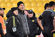 Hurricanes head coach Chris Boyd (L) with assistant Hurricanes coach John Plumtree during the Hurricanes vs Blues Super Rugby match at the Westpac Stadium in Wellington on Saturday the 7th of July 2018. Copyright Photo by Marty Melville / www.Photosport.nz