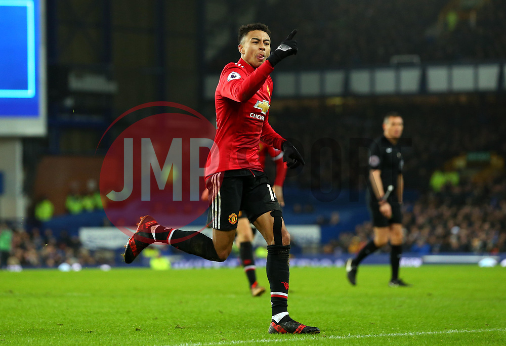 Jesse Lingard of Manchester United celebrates scoring a goal to make it 2-0 - Mandatory by-line: Robbie Stephenson/JMP - 01/01/2018 - FOOTBALL - Goodison Park - Liverpool, England - Everton v Manchester United - Premier League