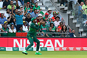 Wicket - Babar Azam of Pakistan takes the catch to dismiss Mosaddek Hossain of Bangladesh off the bowling of Shadab Khan of Pakistan during the ICC Cricket World Cup 2019 match between Pakistan and Bangladesh at Lord's Cricket Ground, St John's Wood, United Kingdom on 5 July 2019.