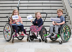Repro Free: 03/09/2014<br /> Emily Fitzsimons (7) from Kildare, Lara Bayliss (3) from Bray Co Wicklow and Sean Nelson (6) from Sallins Co Kildare are pictured at the launch of the Temple Street national Spina Bifida services research report. This report shows the gross under-resourcing of services for children with Spina Bifida both in Temple Street and across the country. These children have extremely complex needs but the research showed that 54% of them do not have access to a multidisciplinary team (MDT) clinic despite the fact that 69% of children with SB over three years use a wheelchair, 93% of them over five years require continence support and 64% of them have a VP shunt to manage hydrocephalus. Picture Andres Poveda