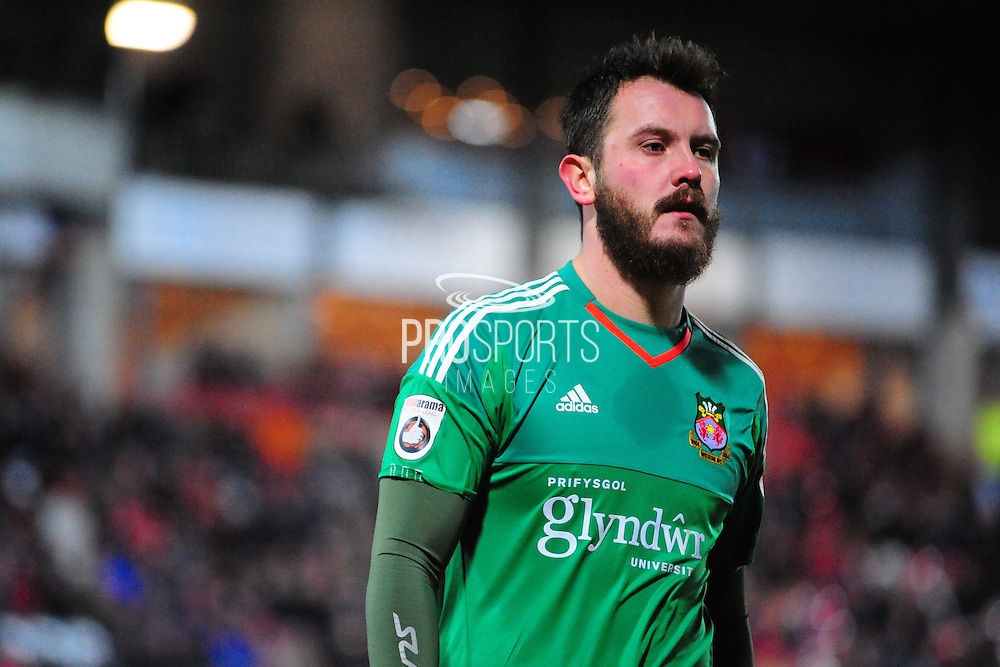 Rhys Taylor of Wrexham on loan from Newport County during the Vanarama National League match between Wrexham AFC and Kidderminster Harriers at the Glyndŵr University Racecourse Stadium, Wrexham, United Kingdom on 23 February 2016. Photo by Mike Sheridan.