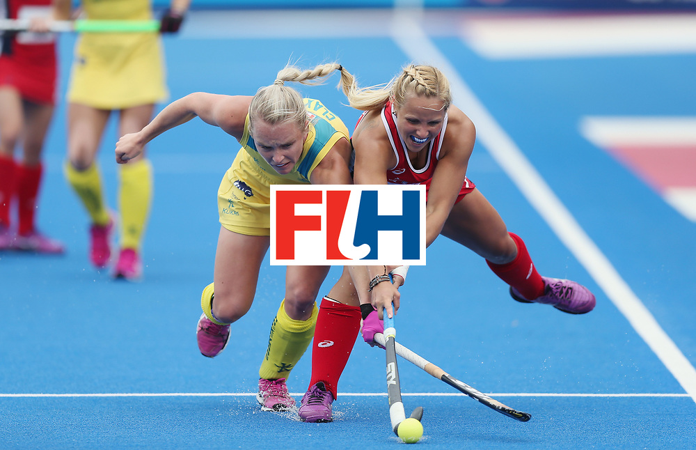 LONDON, ENGLAND - JUNE 18:  Jane Claxton of Australia and Kelsey Kolojejchick of USA during the FIH Women's Hockey Champions Trophy match between USA and Australia at Queen Elizabeth Olympic Park on June 18, 2016 in London, England.  (Photo by Alex Morton/Getty Images)