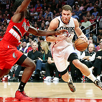 09 November 2016: Los Angeles Clippers forward Blake Griffin (32) drives past Portland Trail Blazers forward Noah Vonleh (21) during the LA Clippers 111-80 victory over the Portland Trail Blazers, at the Staples Center, Los Angeles, California, USA.