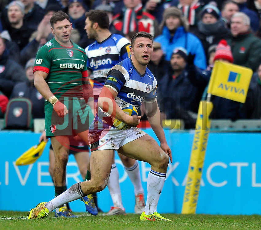 Sam Burgess of Bath Rugby looks on after crossing the try-line, but the score is later ruled out by the referee - Photo mandatory by-line: Patrick Khachfe/JMP - Mobile: 07966 386802 04/01/2015 - SPORT - RUGBY UNION - Leicester - Welford Road - Leicester Tigers v Bath Rugby - Aviva Premiership