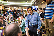 27 MAY 2014 - BANGKOK, THAILAND: CHATURON CHAISANG, a member of the ousted Thai government, greets reporters before a press conference at the Foreign Correspondents' Club of Thailand. Chaturon, a former Deputy Prime Minister and Education Minister and a senior member of the Pheu Thai Party (the party of the elected civilian government) was arrested by military authorities in Bangkok while he was talking to reporters at the Foreign Correspondents' Club of Thailand. A squad of soldiers came into the packed FCCT dining room, confronted Chaturon and led him to a waiting van.     PHOTO BY JACK KURTZ
