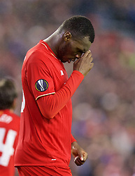 LIVERPOOL, ENGLAND - Thursday, November 26, 2015: Liverpool's Christian Benteke celebrates scoring the second goal against FC Girondins de Bordeaux during the UEFA Europa League Group Stage Group B match at Anfield. (Pic by David Rawcliffe/Propaganda)